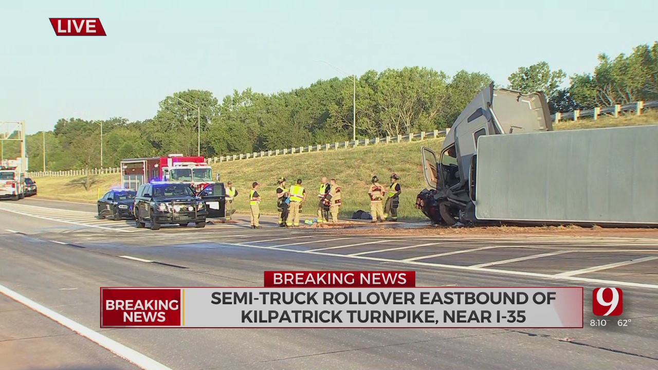 Semi Truck Rolls Over Along Kilpatrick Turnpike