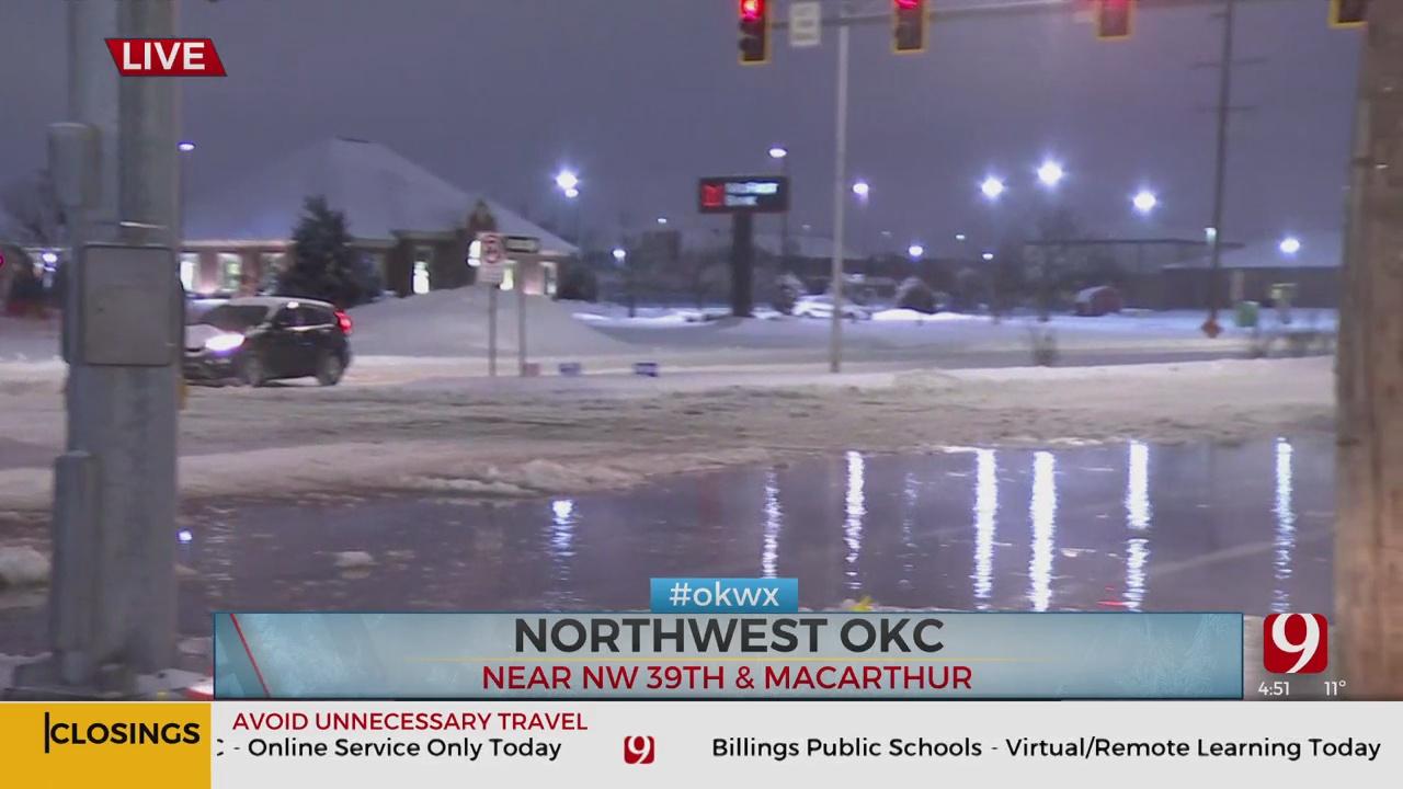 Water Line Break In Warr Acres Causes Dangerous Driving Conditions
