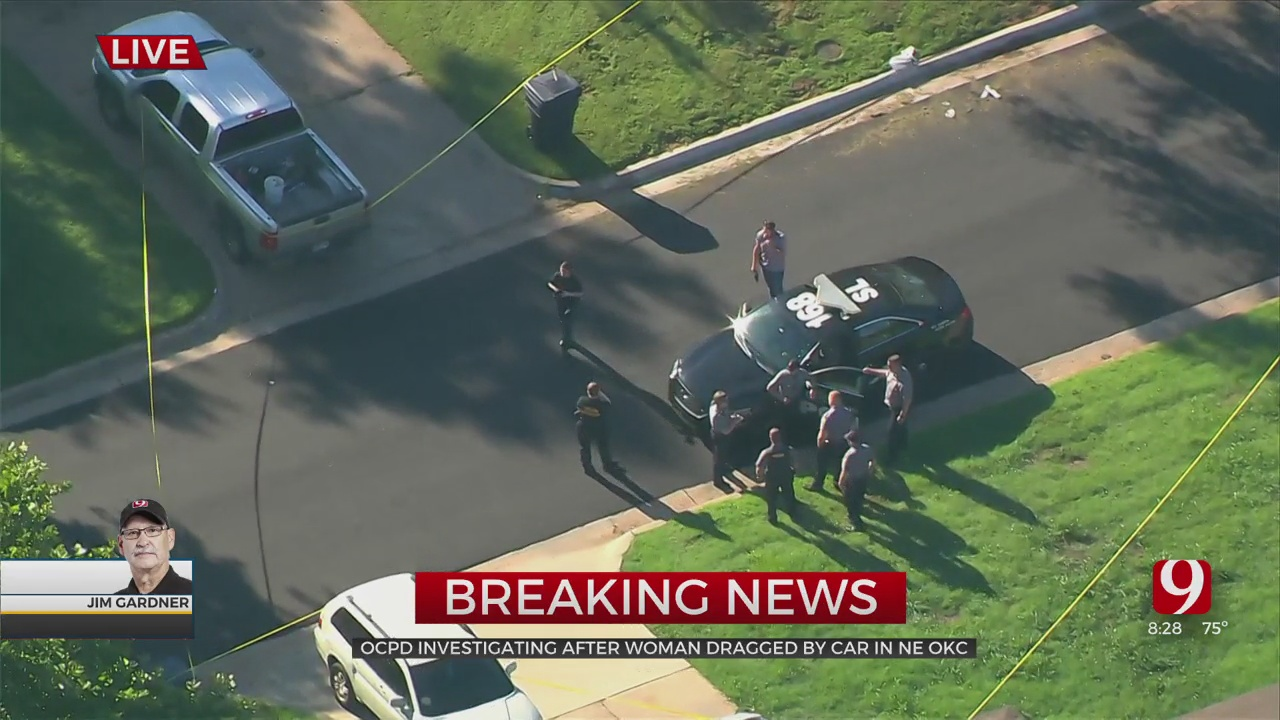 GRAPHIC: SkyNews 9 Flies Over The Crime Scene In NE OKC After A Woman Was Dragged By A Vehicle