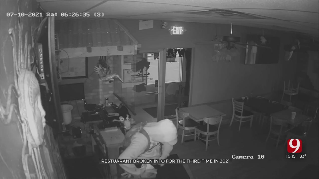Burglar Caught On Camera Stealing Cash Register, Checks From SW OKC Restaurant