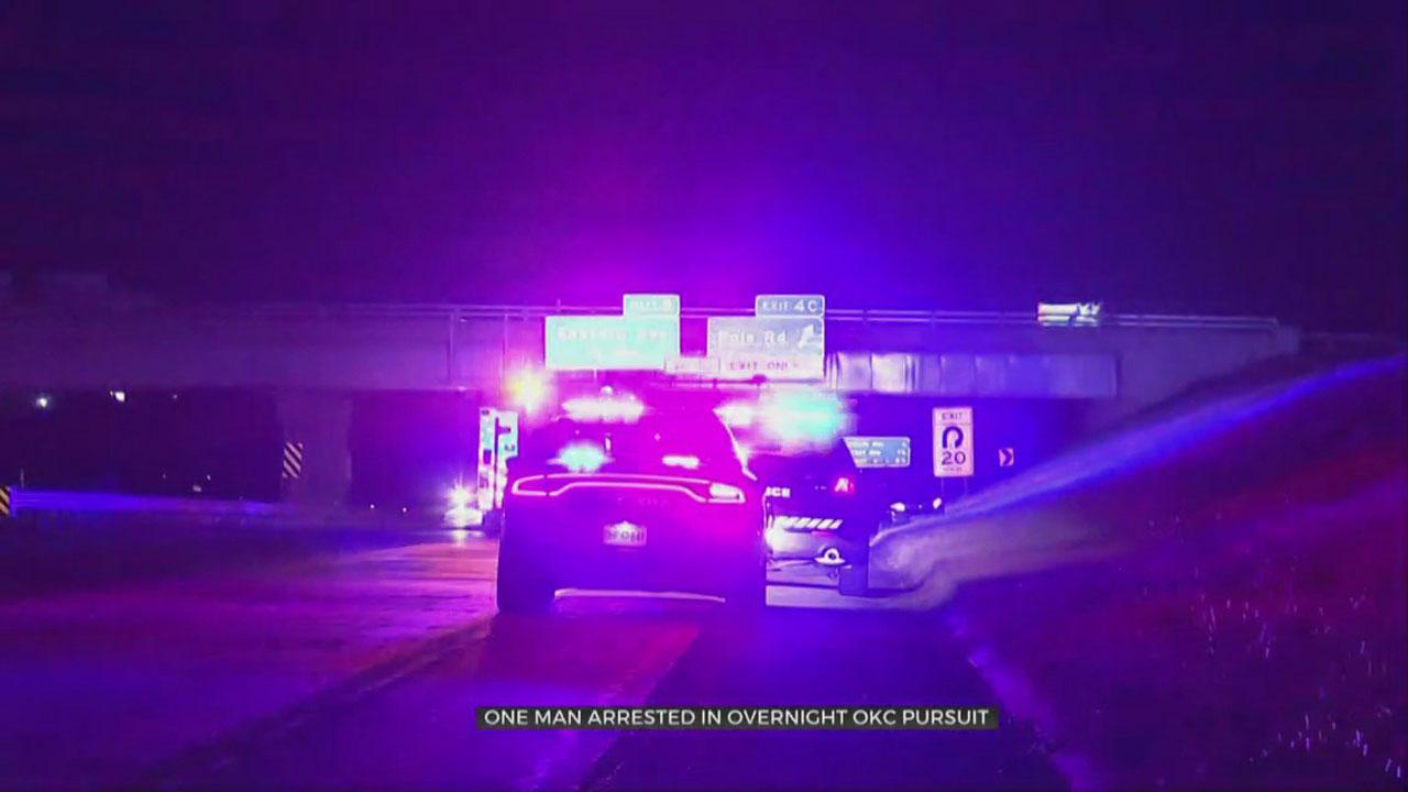 1 Arrested After Overnight Pursuit, Crash In OKC