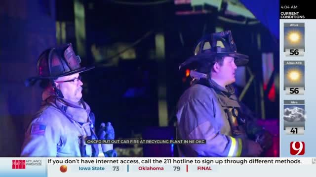 OKCFD Responds To String Of Car Fires At Recycling Plant