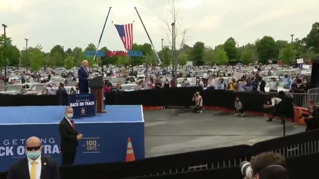 President Biden Holds Car Rally In Georgia To Mark 100 Days In Office