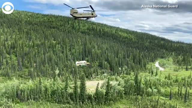 WATCH: Helicopter Removes 'Into The Wild' Bus In Alaska