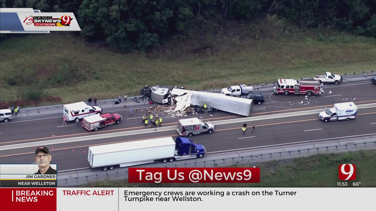 Semi Rollover Closes Down Eastbound Side Of Turner Turnpike