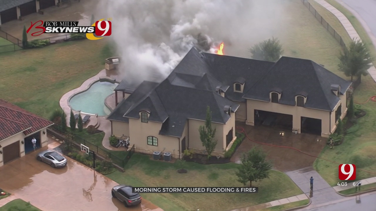 First Wave Of Storms Causes Flooding, At Least 1 House Fire In OKC Metro