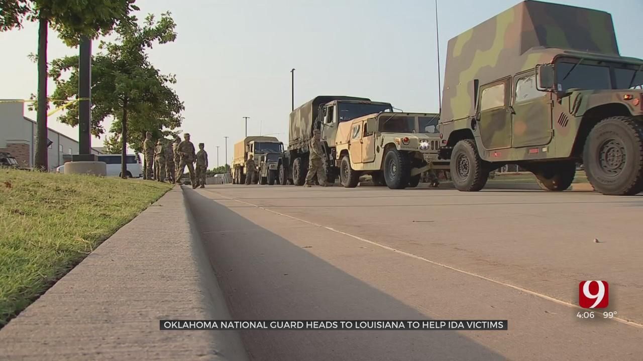 Oklahoma National Guard Members Leave For Louisiana To Help After Hurricane Ida