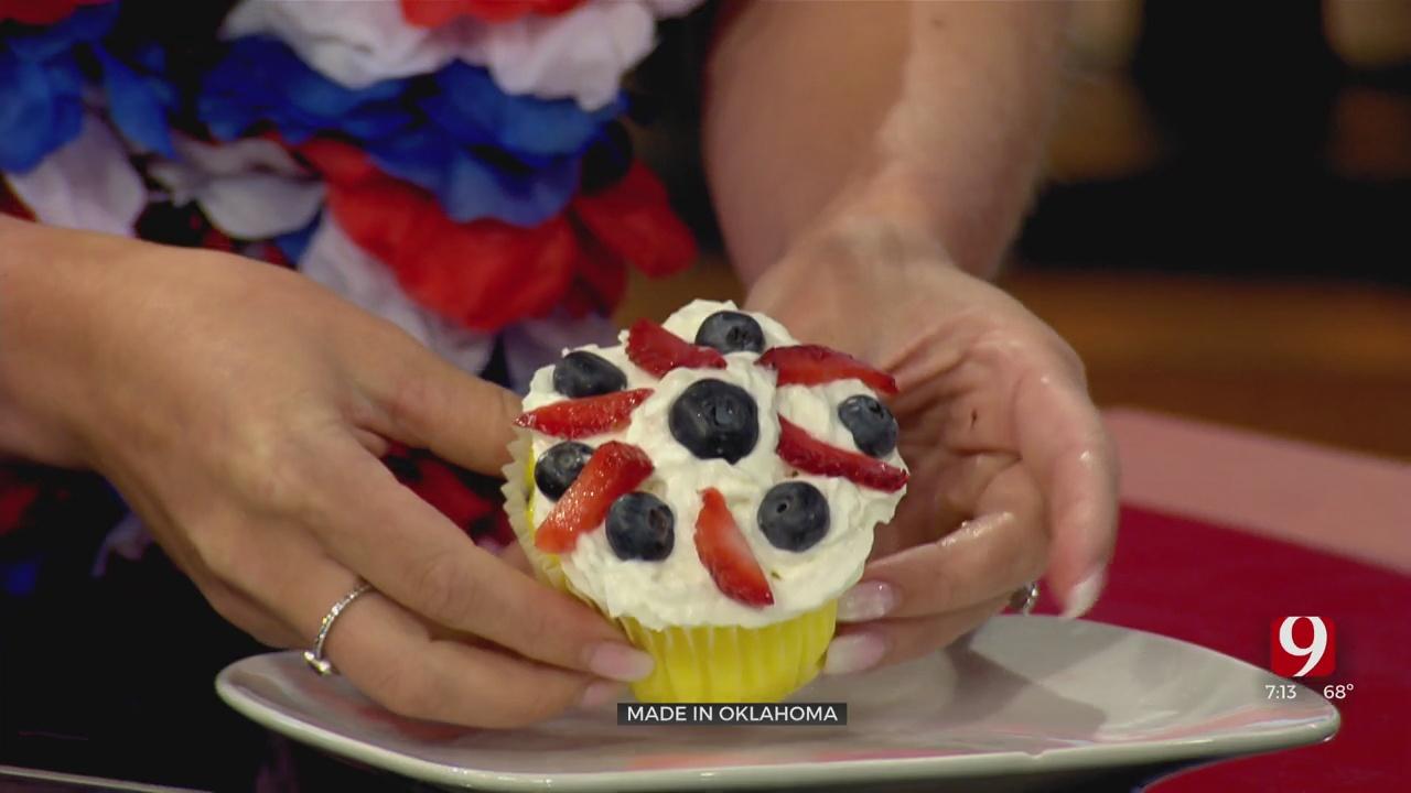 Made In Oklahoma: Lemon Red, White, & Blueberry Cupcake