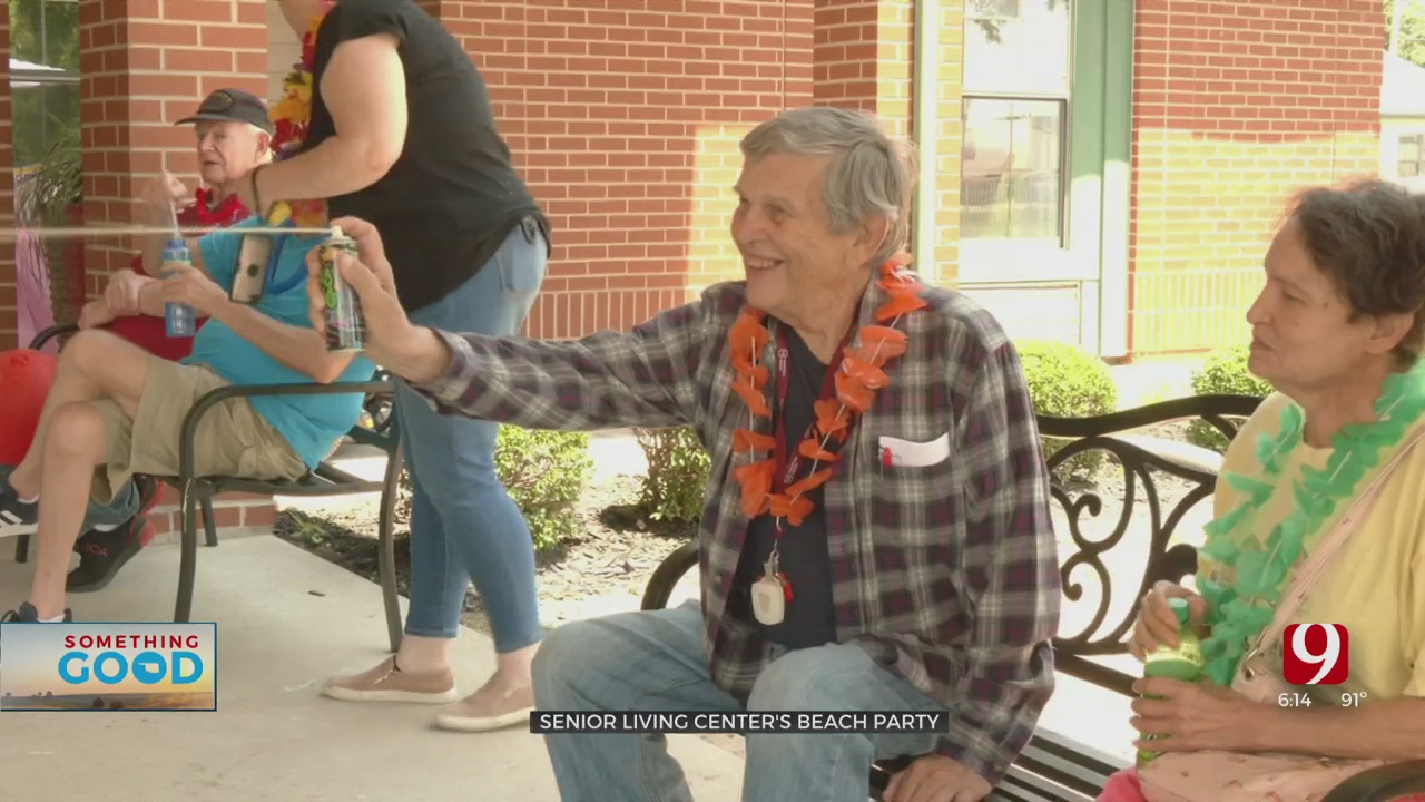 OKC Senior Living Center Has Beach Party For Residents And Their Families
