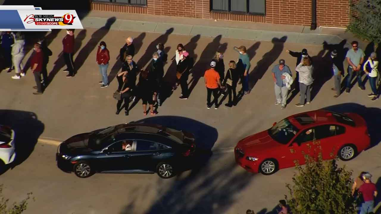 Large Lines Form At Oklahoma County Early Voting Locations