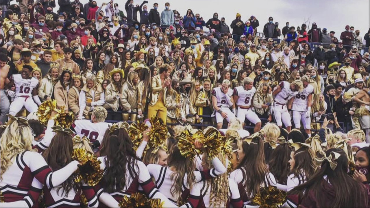 Picture Showing Fans, Students Mask-Less Celebrating Jenks Championship Win Causes Controversy