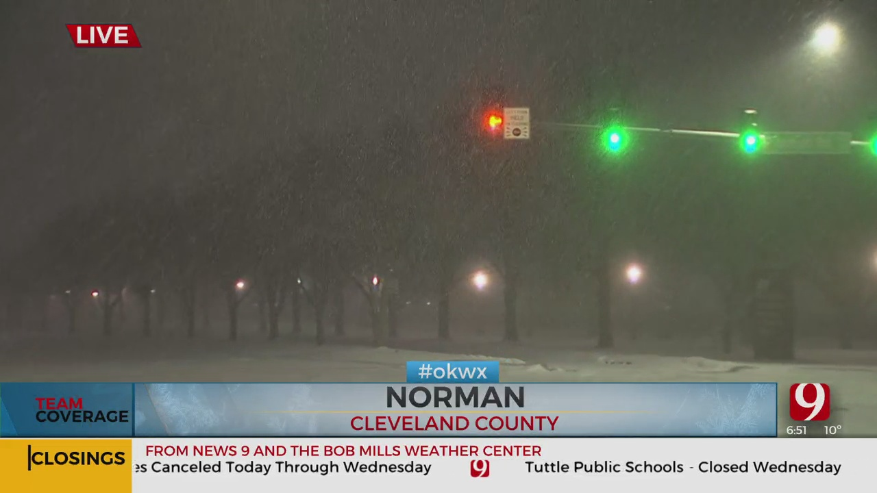 Visibility Low As Another Round Of Snow Falls In Norman