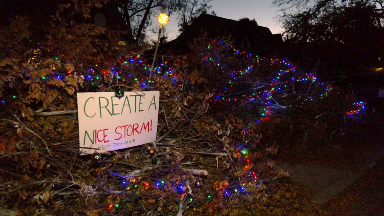 OKC Family Creates Christmas Display With Downed Limbs From Ice Storm