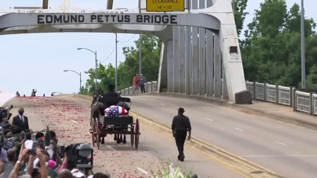Rep. John Lewis Crosses Edmund Pettus Bridge In Selma A Final Time