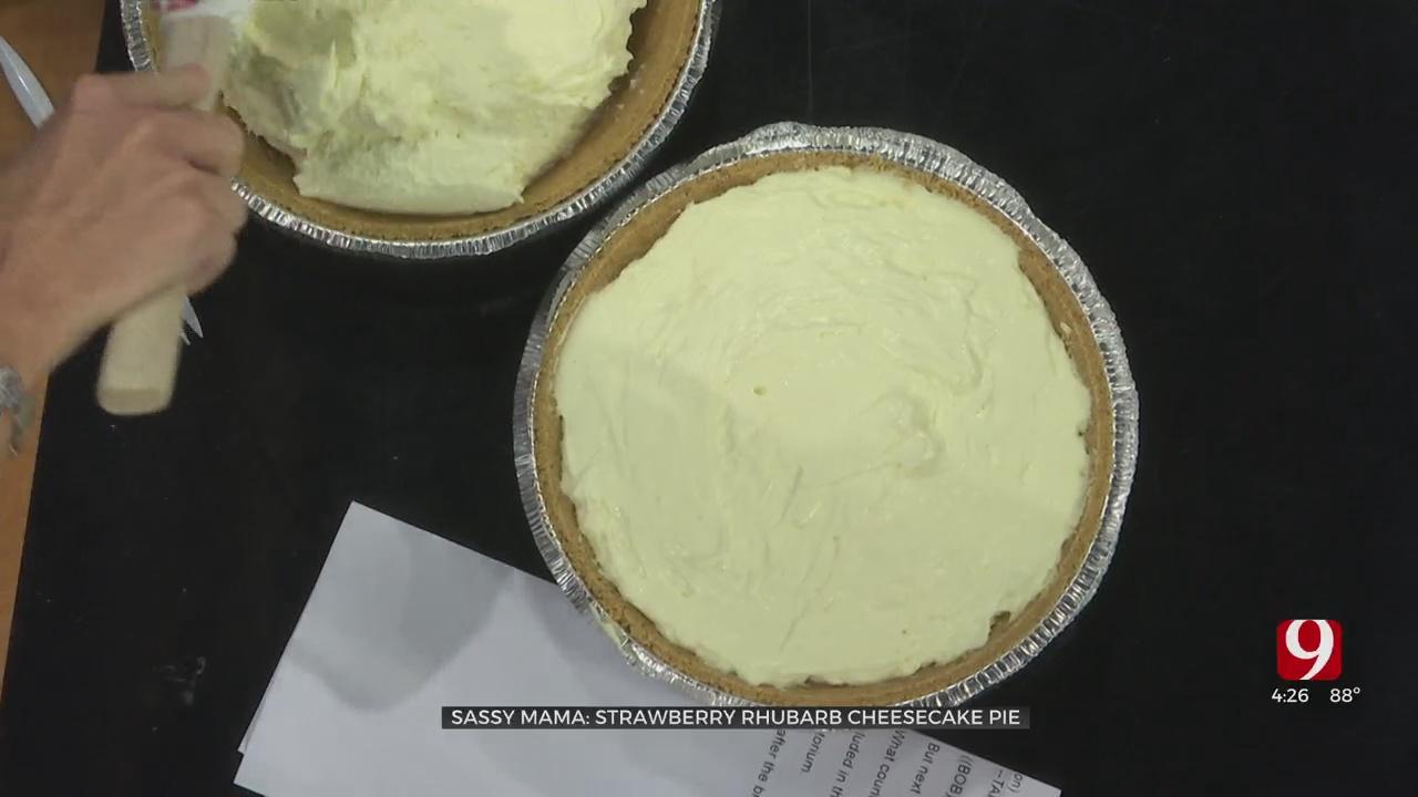 Strawberry Rhubarb Cheesecake Pie