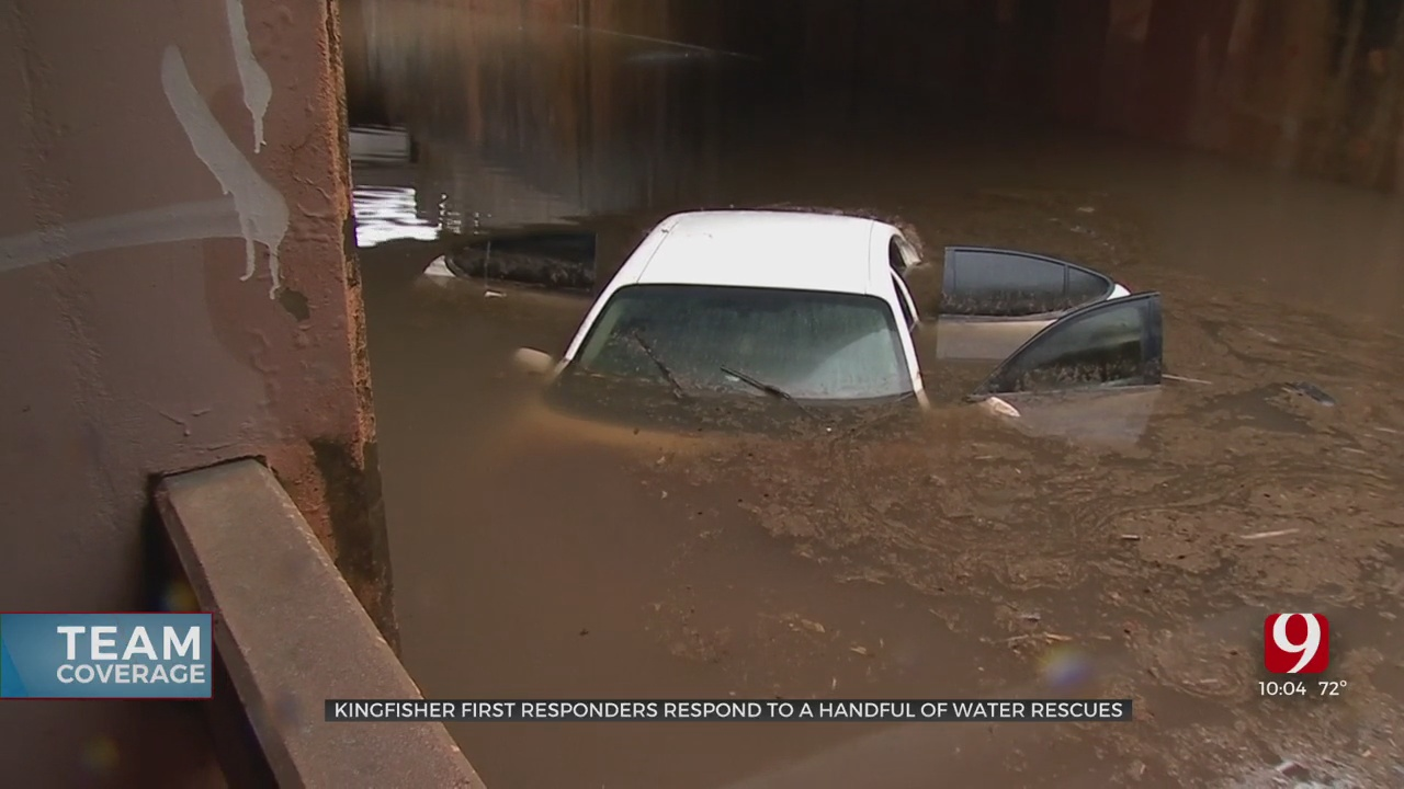 Car Submerged, Driver Rescued In Kingfisher After Downpour Across Oklahoma
