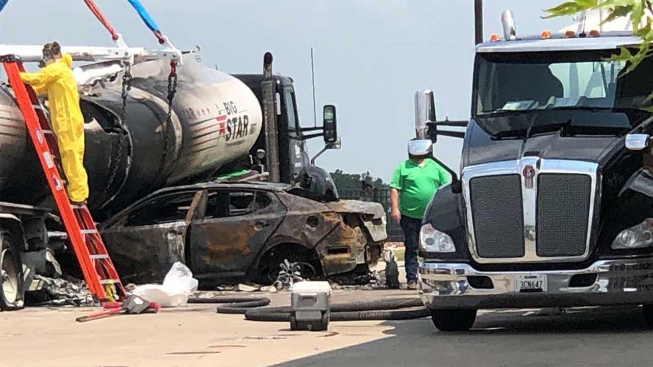 Police Search For Driver After Car Hits 2 People, Crashes Into Fuel Tanker At NW OKC Gas Station