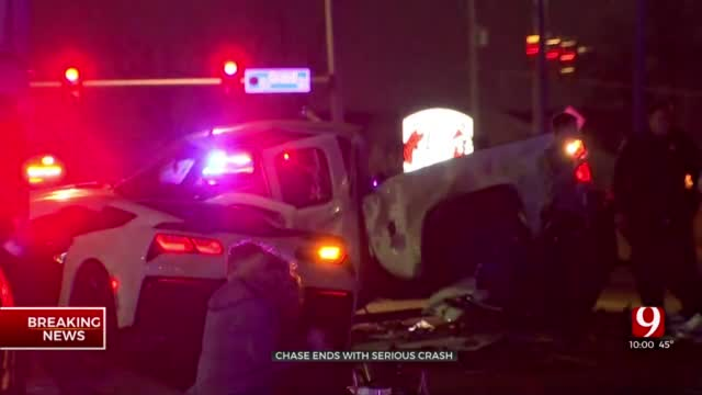 OKC Pursuit Ends In Crash Involving Officer, 1 Person In Critical Condition
