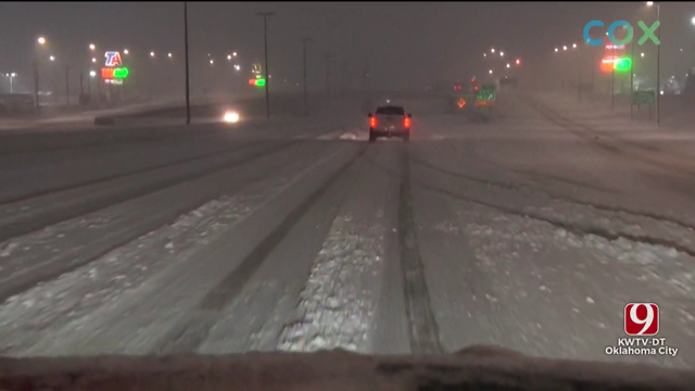 OKC Street Crews Work To Clear Roads During Winter Weather