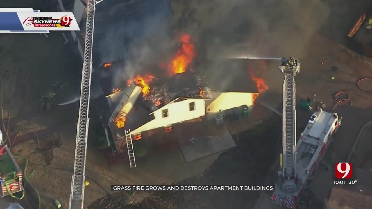 Large Grass Fire Sparks Blaze At NE OKC Apartment Complex