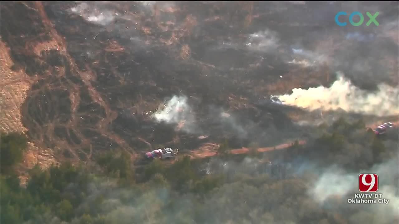 Firefighters Battle Wildfire Near NE 63rd & Sooner