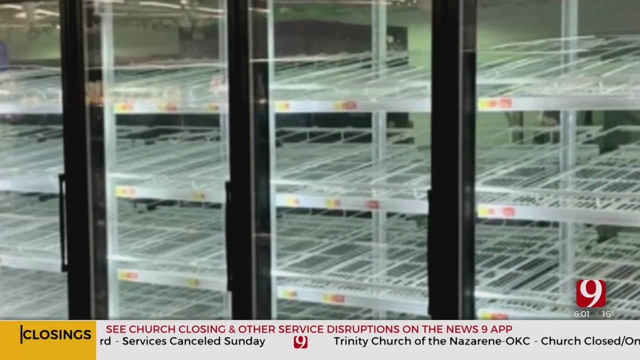 Store Shelves Empty As Oklahomans Rush To Prepare For Winter Weekend