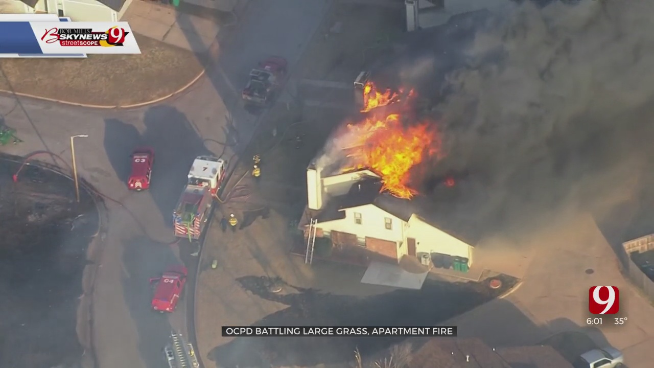Large Grass Fire Sparks Fire At NE OKC Apartment Complex