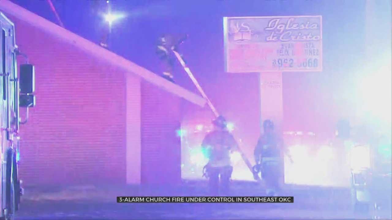 Firefighters Battle Church Fire In SE Oklahoma City