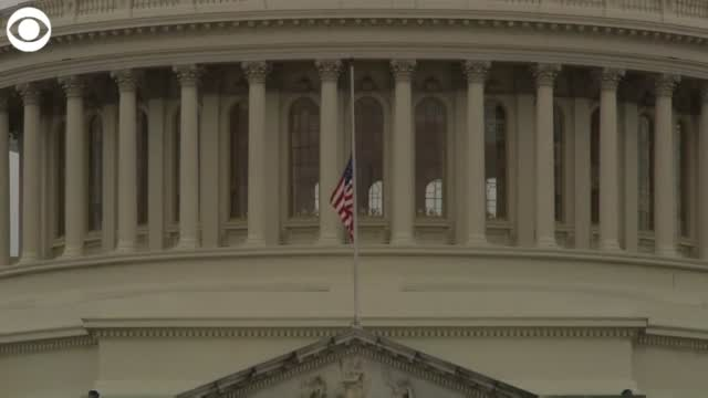 Capitol Flags Fly At Half-Staff To Honor Fallen US Capitol Police Officer Who Died Following Riot