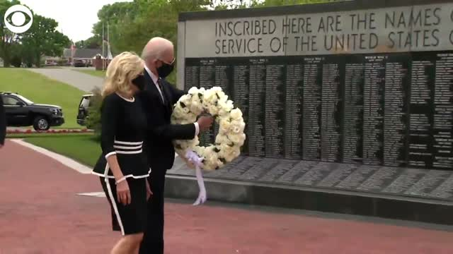 Joe Biden Lays Wreath On Memorial Day In First Public Appearance