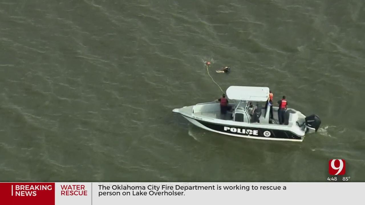 OKCFD Dive Team Rescues Man Stranded At Lake Overholser
