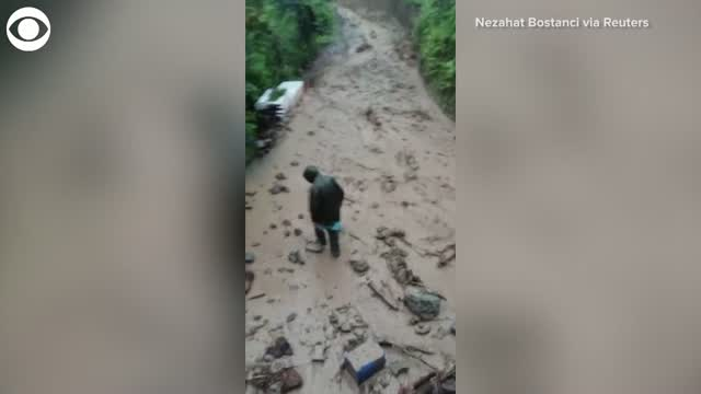 Man In Turkey Escapes Floodwaters, Moment Caught On Camera