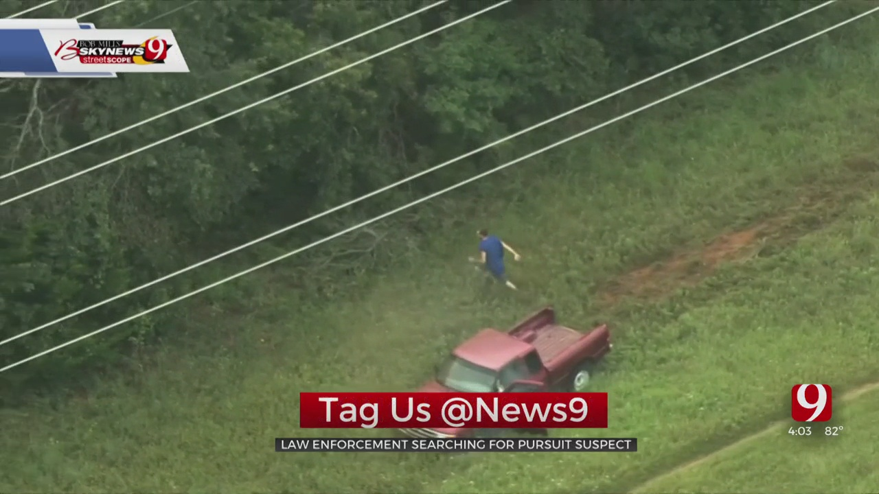Search Underway After Pursuit Suspect Ditches Crashed Truck, Runs Into Wooded Area In OKC