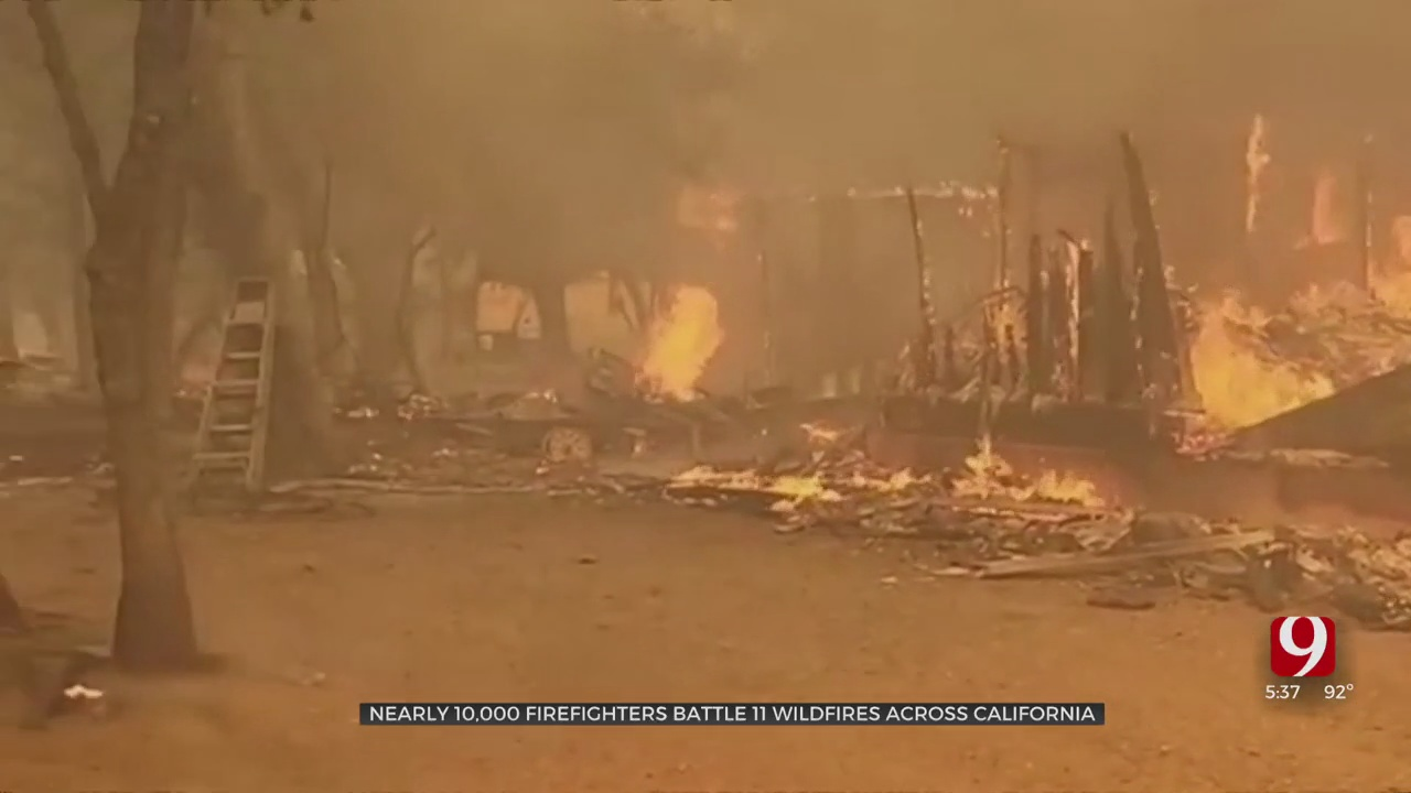 Nearly 10,000 Firefighters Battle 11 Wildfires Across California