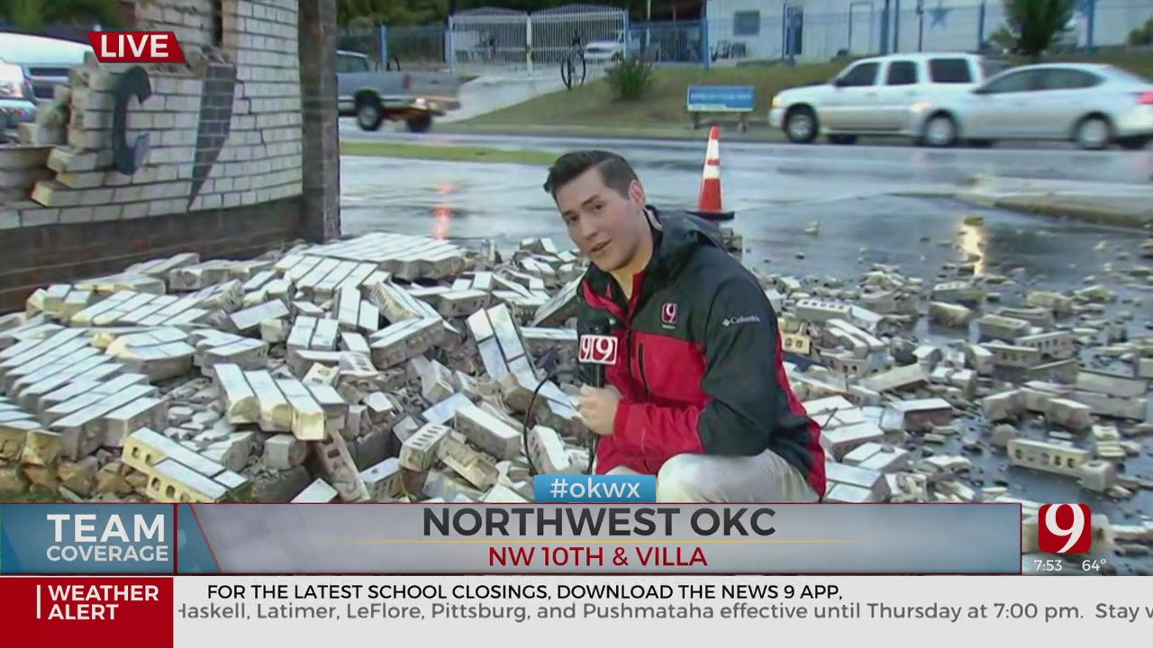 Strong Storm Knocks Down Brick Wall In NW OKC