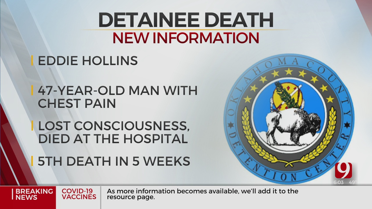 Detainee Dies At Oklahoma County Detention Center, Officials Say