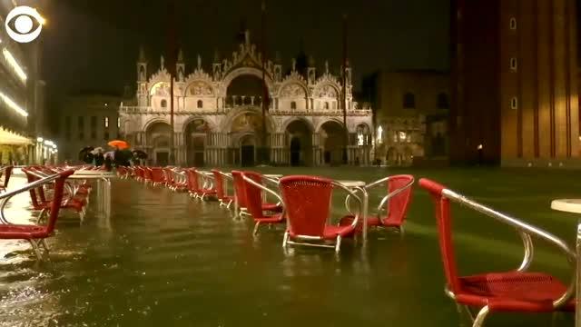 WATCH: Near-Record High Tide Floods Venice