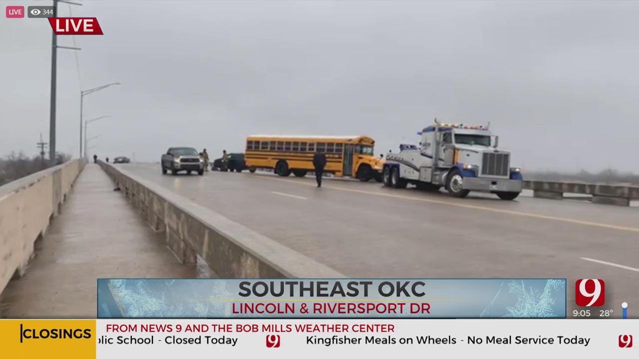 Slick Roadways Cause Several School Bus Crashes Across Okla.