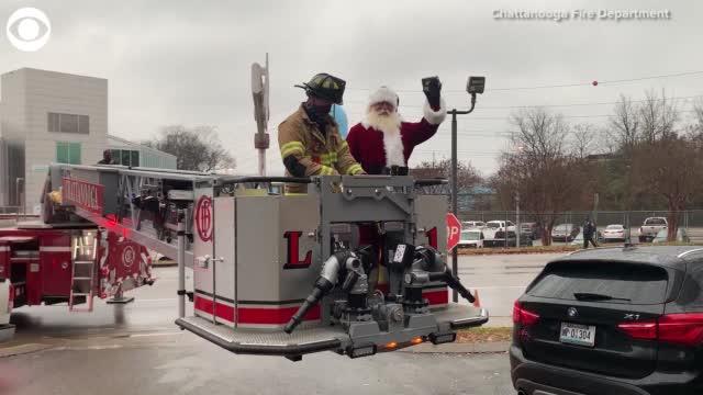 Watch: Fire Department Helps Santa See Children