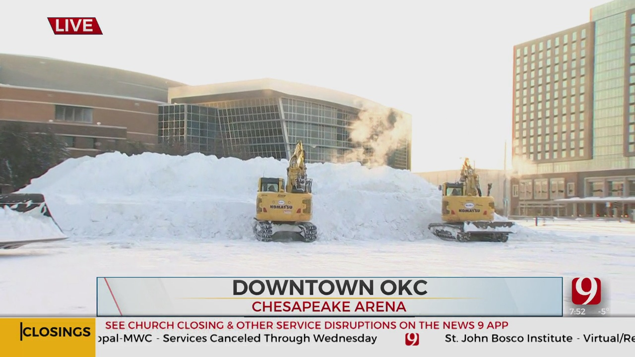 WATCH: Massive Pile Of Snow In Downtown OKC