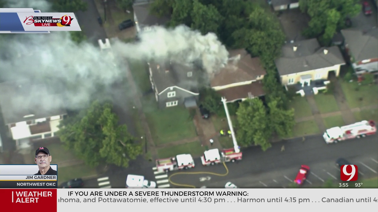 Firefighters Battle House Fire Sparked During Severe Storms