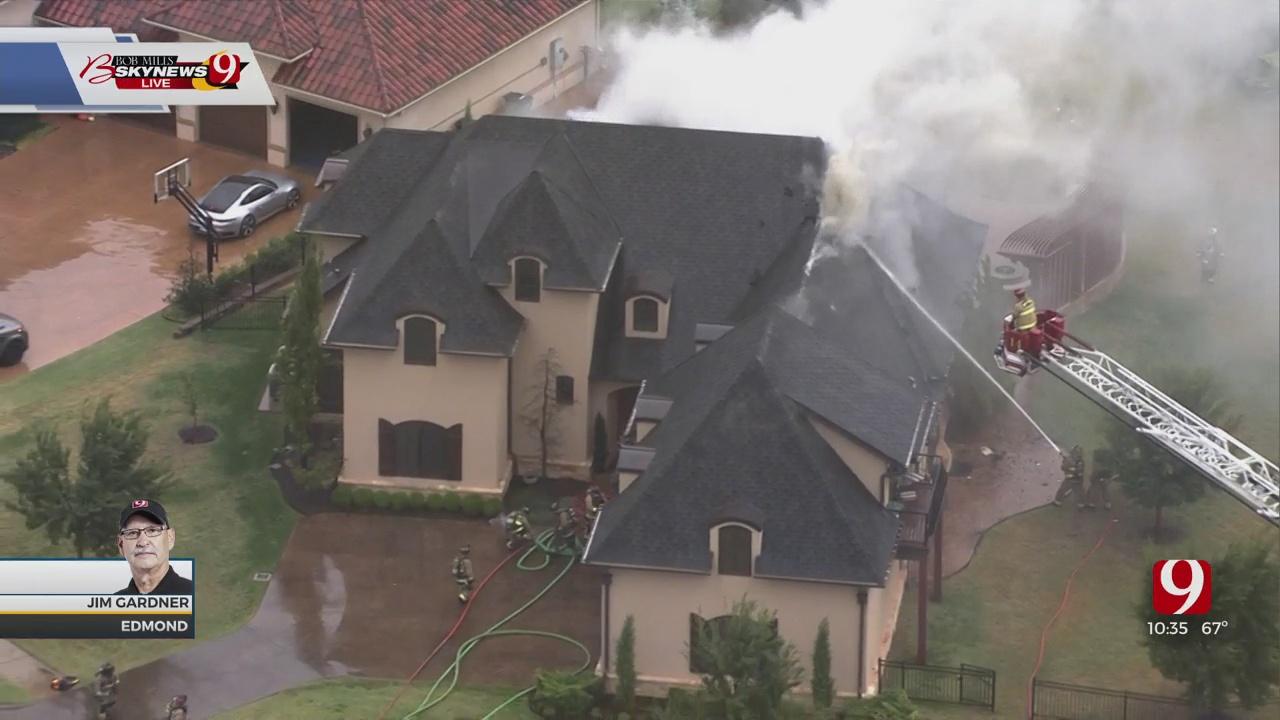 Bob Mills SkyNews9 Flies Over House Fire In Edmond