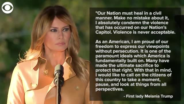 Watch: First Lady Melania Trump Condemns Violence At Capitol In Statement