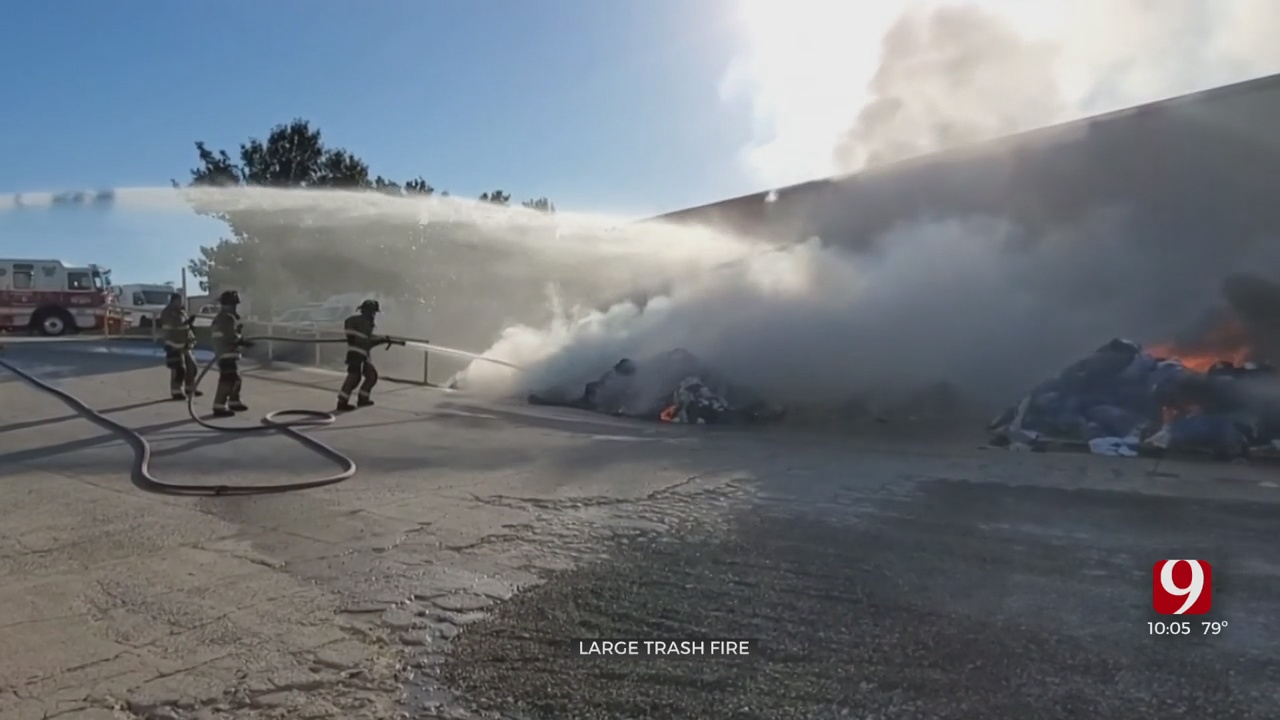 Large Trash Fire Put Out By OKc Firefighters