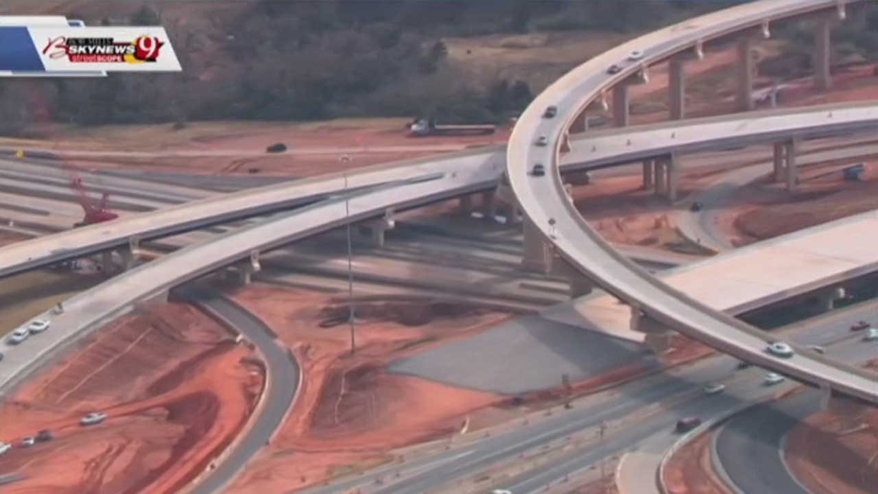 Construction Crews Shift Lanes On Southbound I-235 Near The I-44 Junction