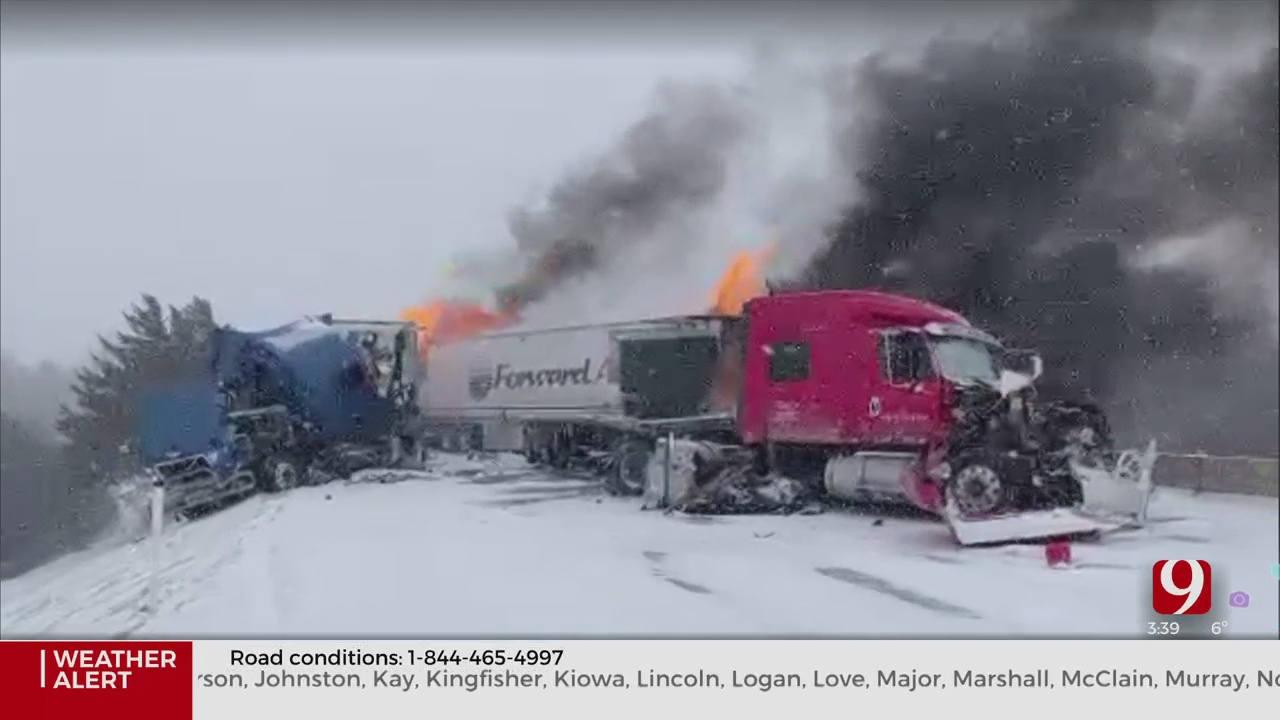 WATCH: News 9 Viewer Sends In Video Of Semi Truck Accident On Turner Turnpike