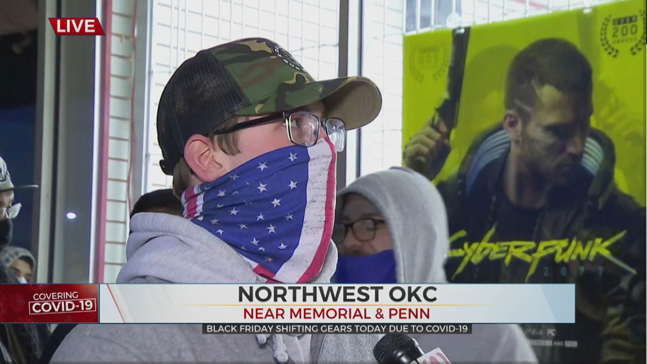 OKC Shopper Waits In Long Line On Black Friday For New Video Game Console