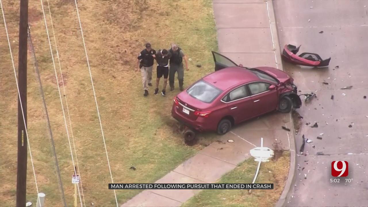 Man Arrested After Chase Ends In Crash In SE OKC