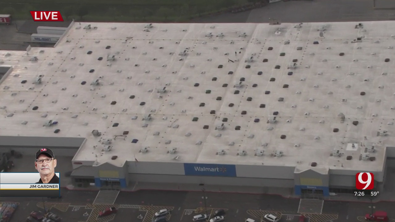 WATCH: Bob Mills SkyNews 9 Flies Over Damage Along Main Street In Norman