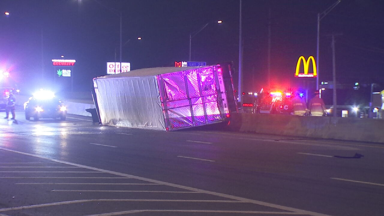 No Injuries Reported After Rollover Crash Involving Semi